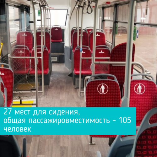 27 мест для сидения, общая пассажировместимость - 105 человек